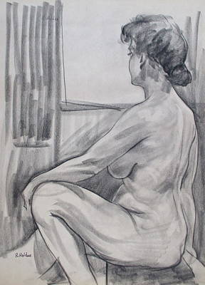Drawing - Kathy From The Back by Robert Holden