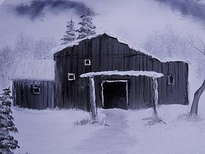 Monotone Painting - Kathy's Barn by James Michael Johnson
