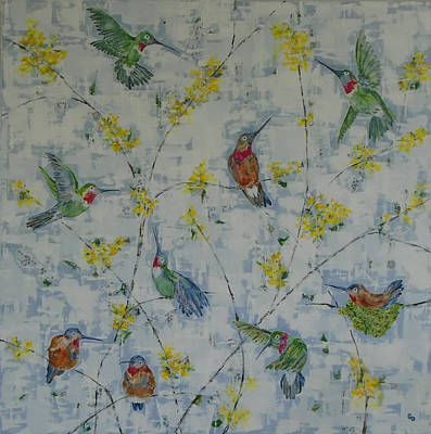 Painting - Kathy's Hummingbirds by Georgia Donovan