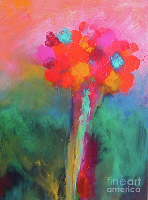 Painting - Katie's Beautiful Flowers. Painting. by Robert Birkenes
