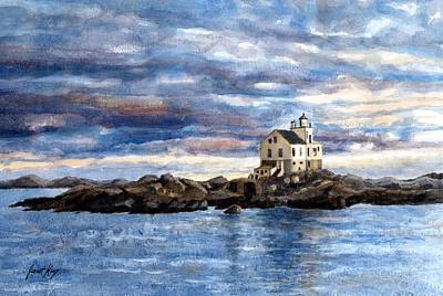 Farsund Painting - Katland Lighthouse by Janet King