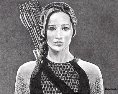 Drawing - Katniss by Daniel Carvalho