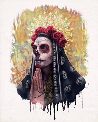 Saint-lo Painting - Katrina - The Skull Girl by Carlos Tato