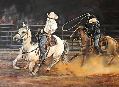 Roping Horse Painting - Kat's Cowboys by Leisa Temple