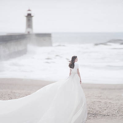 Wedding Dress Photograph - Katya And The Lighthouse by Anka Zhuravleva