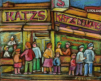 Streetscenes Painting - Katzs Delicatessan New York by Carole Spandau
