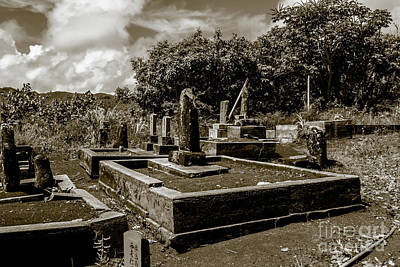 Photograph - Kauai Cemetery Duo Tone by Blake Webster