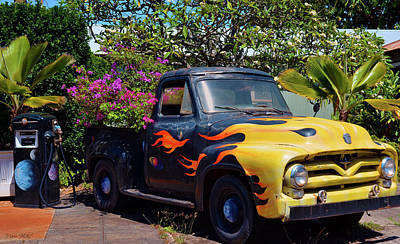 Photograph - Kauai Flaming Flower Truck by Marie Hicks