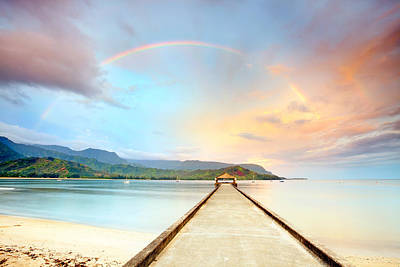 No People Photograph - Kauai Hanalei Pier by Monica and Michael Sweet