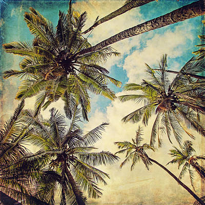 Retro Digital Art - Kauai Island Palms - Blue Hawaii Photography by Melanie Alexandra Price