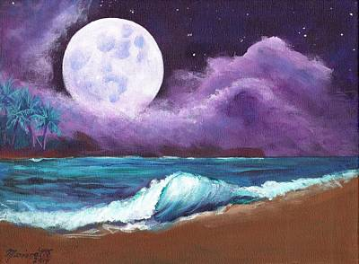 Painting - Kauai Moonrise At The Beach by Marionette Taboniar