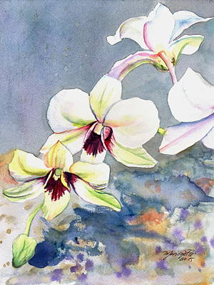 Orchid Art Painting - Kauai Orchid Festival by Marionette Taboniar