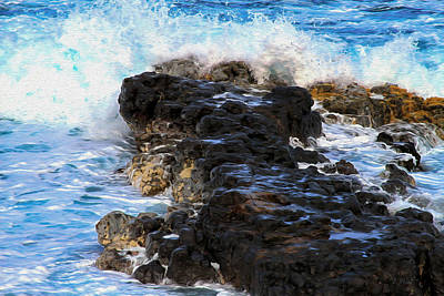Photograph - Kauai Rock Splash by Bonnie Follett