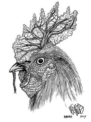 Drawing - Kauai Rooster Tree Drawing by Rick Frausto