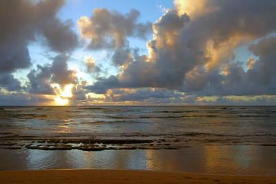 Hawaiin Photograph - Kauai Sunrise Reflections by Stephen  Vecchiotti