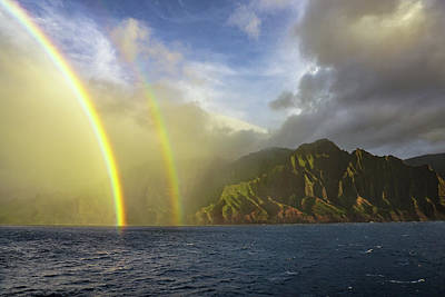 Photograph - Kauai Sunset Rainbow by Dave Matchett