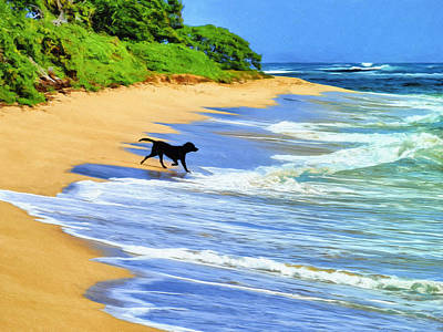 Kauai Water Dog Art Print