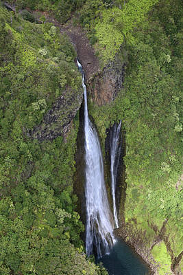 Photograph - Kauai Waterfall Aerial by Steven Lapkin
