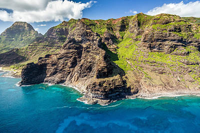 Photograph - Kauai's Coastline From The Air by Pierre Leclerc Photography
