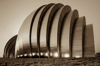 Photograph - Kauffman Center Architecture - Kansas City Sepia by Gregory Ballos