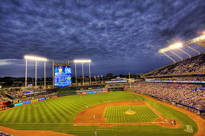 Ballpark Photograph - Kauffman Stadium Twilight by Shawn Everhart
