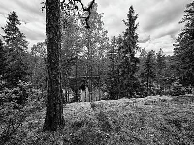 Photograph - Kaukaloistenkallio Hillside View Bw by Jouko Lehto