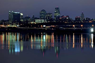 Photograph - Kaw Point Night Lights by Frozen in Time Fine Art Photography