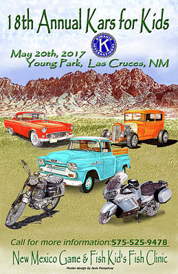 Las Cruces Painting - Kiwanis Car Show Event Poster by Jack Pumphrey