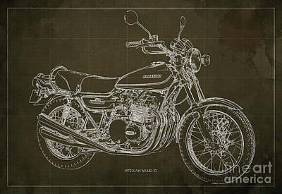 Motorcycles Digital Art - Kawasaki Motorcycle Blueprint, Mid Century Brown Art Print by Pablo Franchi
