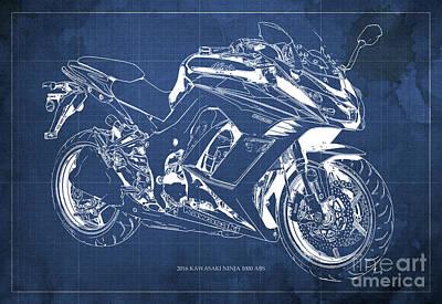 Abs Digital Art - Kawasaki Ninja 1000 Abs 2016 Blueprint Blue Back Fathers Day Gift by Pablo Franchi
