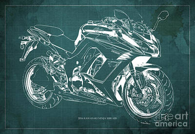Kawasaki Ninja 1000 Abs 2016 Blueprint Green Back, Fathers Day Gift Art Print by Pablo Franchi