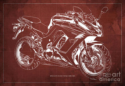 Kawasaki Ninja 1000 Abs 2016 Blueprint Red Back Fathers Day Gift Art Print by Pablo Franchi