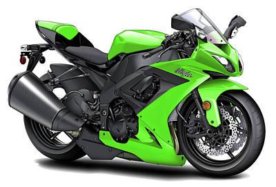 Ninja Digital Art - Kawasaki Ninja Green Motorcycle by Maddmax