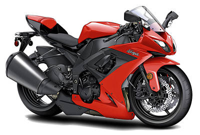 Bike Race Digital Art - Kawasaki Ninja Red Motorcycle by Maddmax
