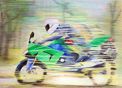 Motorcycle Drawing - Kawasaki Quick - Kawasaki Zl1000 by Brian  Commerford