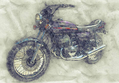 Royalty-Free and Rights-Managed Images - Kawasaki Triple 1 - Kawasaki Motorcycles - 1968 - Motorcycle Poster - Automotive Art by Studio Grafiikka