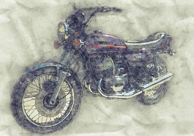 Mixed Media Royalty Free Images - Kawasaki Triple 1 - Kawasaki Motorcycles - 1968 - Motorcycle Poster - Automotive Art Royalty-Free Image by Studio Grafiikka