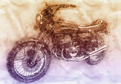 Royalty-Free and Rights-Managed Images - Kawasaki Triple 2 - Kawasaki Motorcycles - 1968 - Motorcycle Poster - Automotive Art by Studio Grafiikka