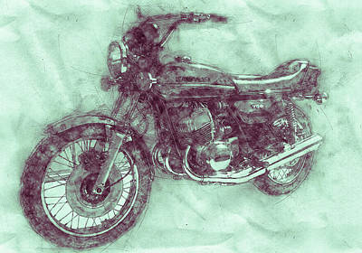 Mixed Media - Kawasaki Triple 3 - Kawasaki Motorcycles - 1968 - Motorcycle Poster - Automotive Art by Studio Grafiikka