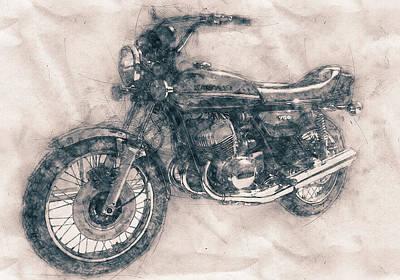 Mixed Media - Kawasaki Triple - Kawasaki Motorcycles - 1968 - Motorcycle Poster - Automotive Art by Studio Grafiikka