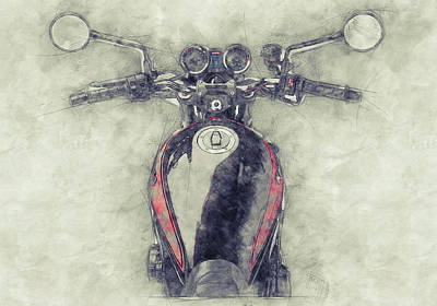 Mixed Media Royalty Free Images - Kawasaki Z1 - Kawasaki Motorcycles 1 - 1972 - Motorcycle Poster - Automotive Art Royalty-Free Image by Studio Grafiikka