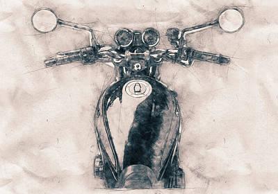 Mixed Media Royalty Free Images - Kawasaki Z1 - Kawasaki Motorcycles - 1972 - Motorcycle Poster - Automotive Art Royalty-Free Image by Studio Grafiikka