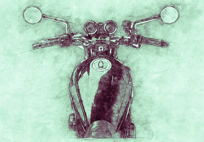 Royalty-Free and Rights-Managed Images - Kawasaki Z1 - Kawasaki Motorcycles 3 - 1972 - Motorcycle Poster - Automotive Art by Studio Grafiikka