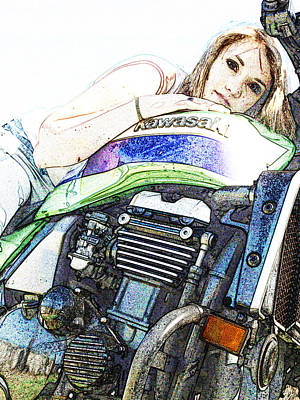 Digital Art - Kawasaki Zrx With Love by James Granberry