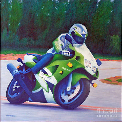 Motorcycle Racing Painting - Kawasaki Zx7 - In The Groove  by Brian  Commerford
