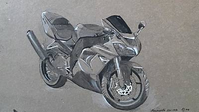 Drawing - Kawawasaki Moyorcycle 2 by Alejandro Lopez-Tasso