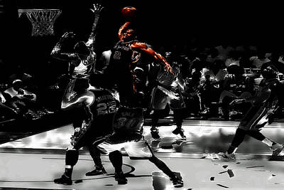 Dwyane Wade Digital Art - Kawhi Leonard Nasty Slam by Brian Reaves