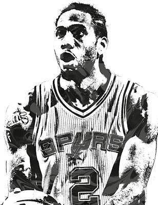 Nba Mixed Media - Kawhi Leonard San Antonio Spurs Pixel Art 4 by Joe Hamilton