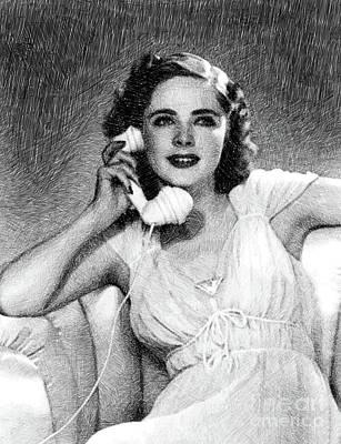 Musicians Drawings - Kay Aldridge, Vintage Actress by JS by Esoterica Art Agency