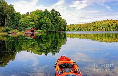 Kayak And Cottages In Gatineau Park Art Print